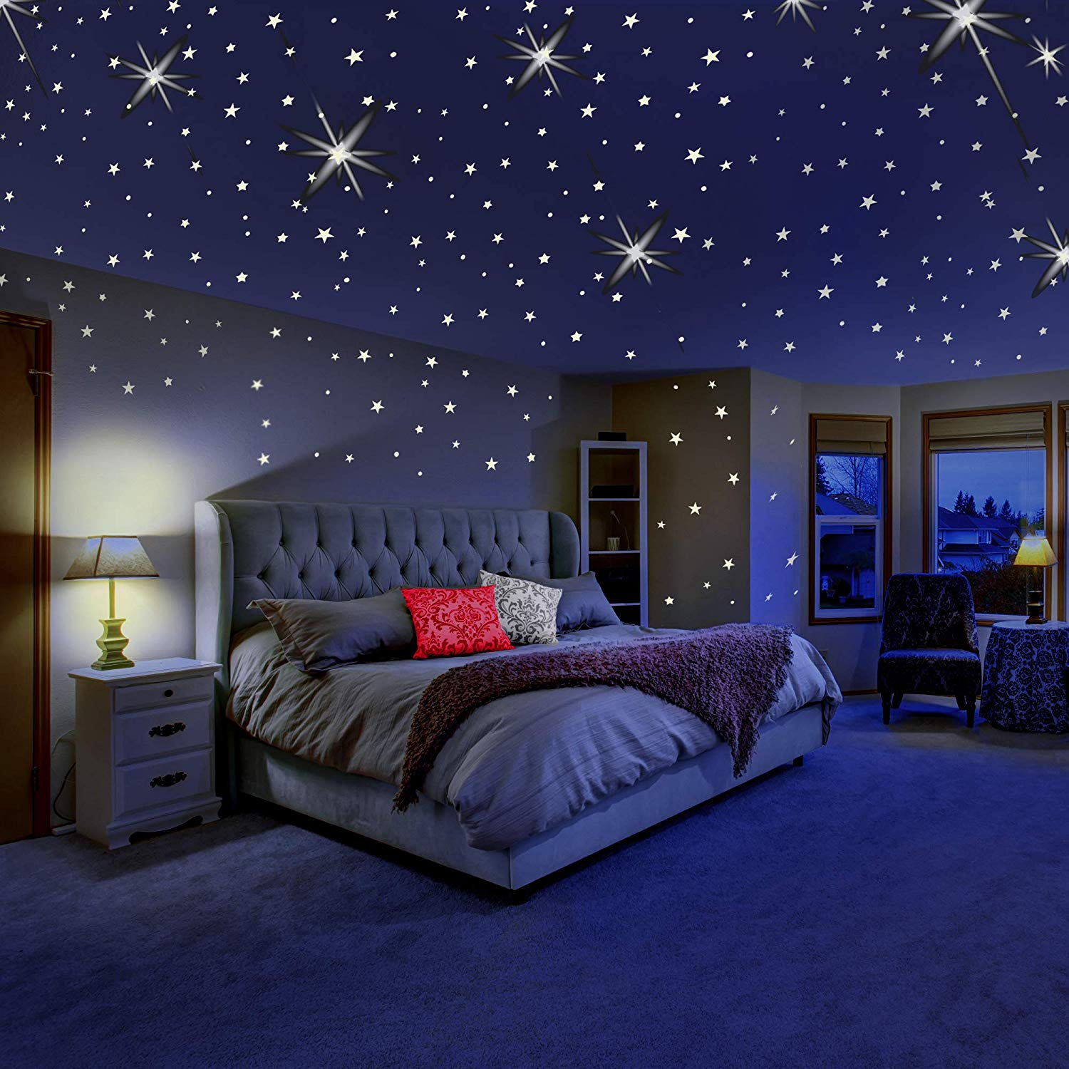 Tayyakoushi Glowing Wall Decals Room Decor Kit Glow In The Dark Stars For Ceiling Or Wall Stickers Galaxy Glow Star Set And Solar System Decal For Kids Bedroom Decoration Home Decor Walmart Com