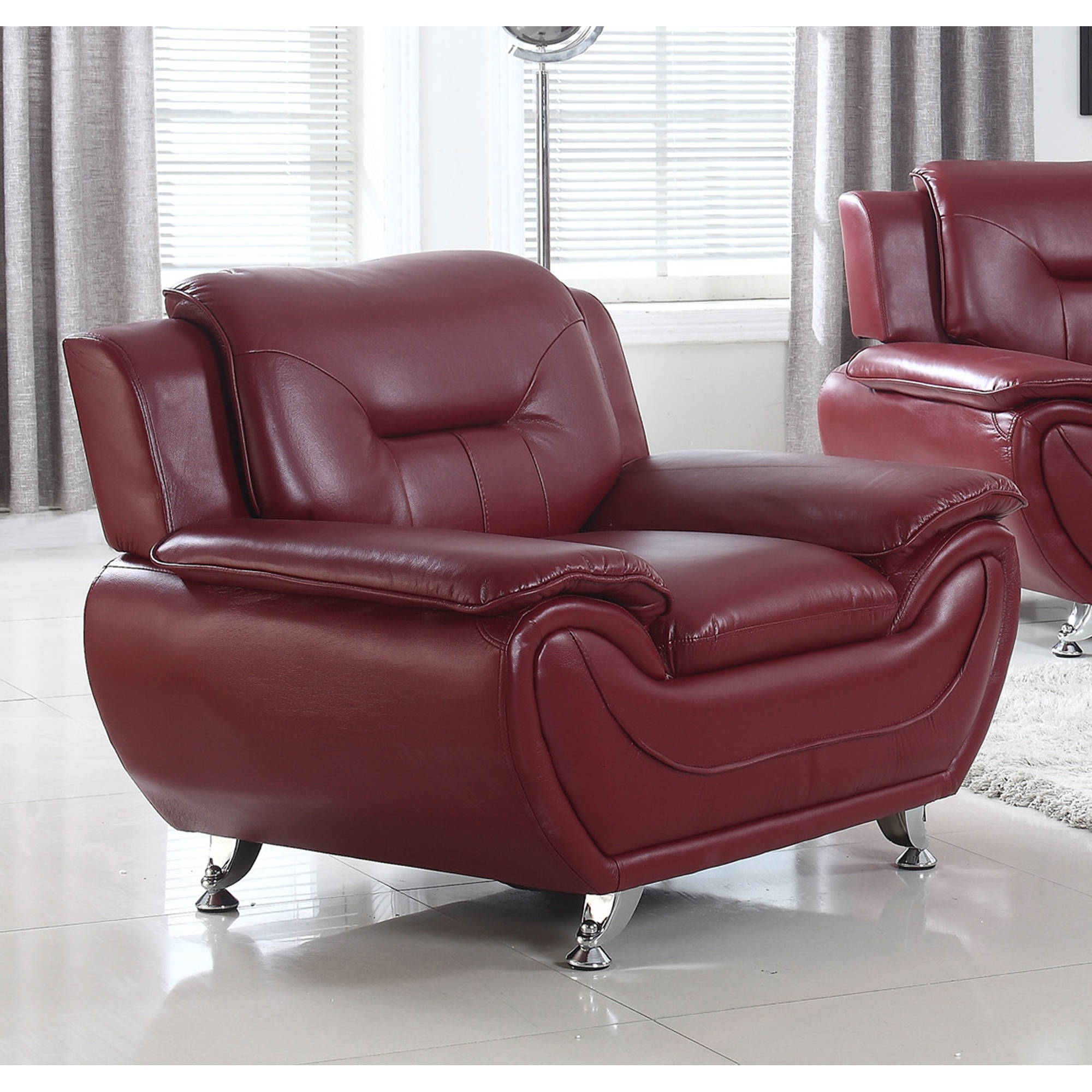 UFE Norton Burgundy Faux Leather Modern Living Room Accent