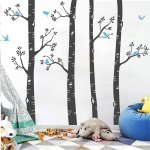 4 Birch Tree Wall Stickers With 7 Bird For Living Room Bedroom Forst Decals Kids Nursery Room Vinyl Wall Decor Walmart Canada