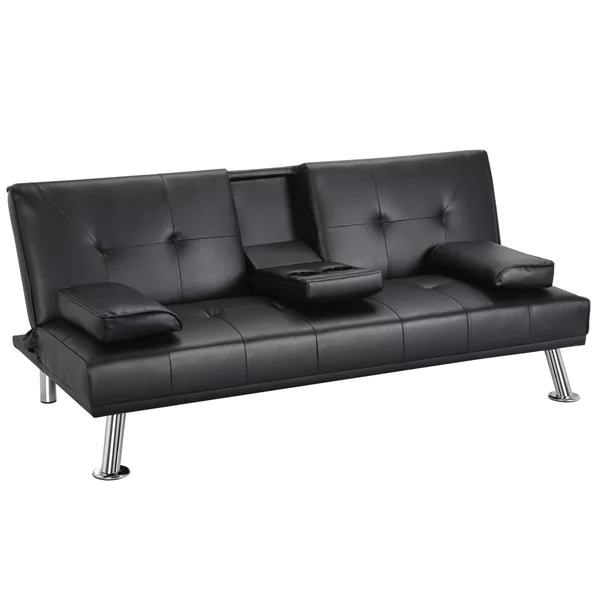 luxurygoods modern faux leather reclining futon with cupholders and pillows black