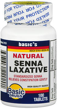 Basic Drugs Natural Senna Laxative Tablets 100 Count ...