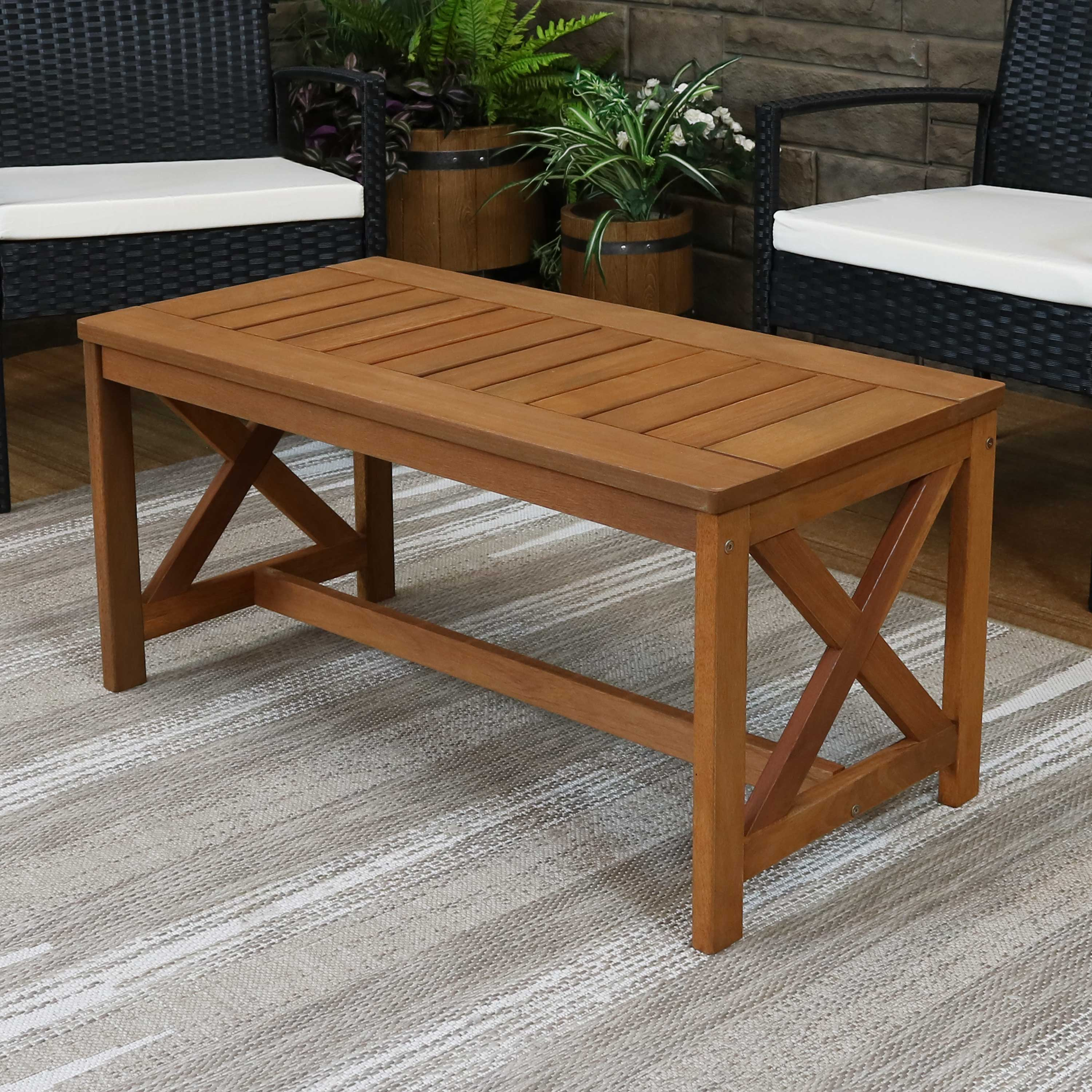 sunnydaze meranti wood outdoor patio coffee table with teak finish outside furniture for lawn garden porch deck balcony backyard and sunroom