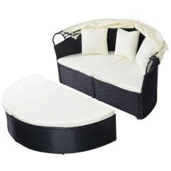 Canopy Daybed Outdoor Wicker Sun Sofa Lounge Fabrics In Kenya Costway Patio Furniture Round Retractable Black Rattan Walmart Com