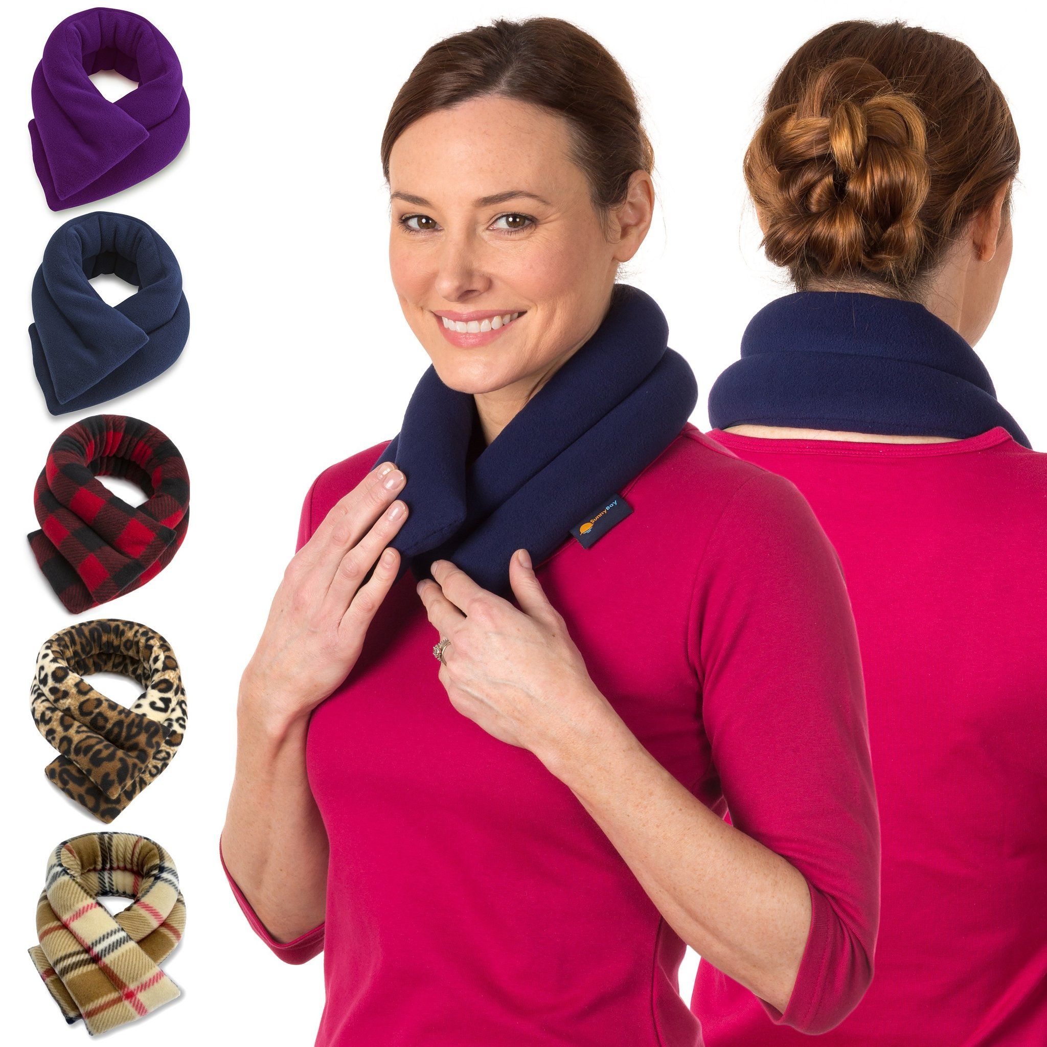 sunnybay extra long neck heating wrap microwavable heat pad heated neck wrap best for neck pain relief midnight blue walmart com