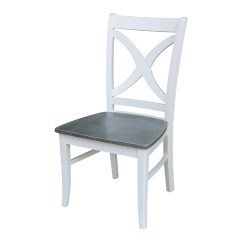White X Back Chair Martha Stewart Covers Vineyard Curved Heather Gray Set Of 2