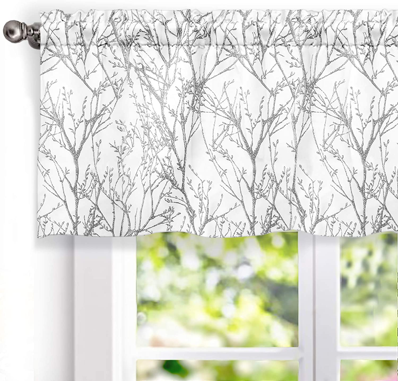 driftaway tree branch botanic pattern lined window curtain valance 52 x18 2 header gray