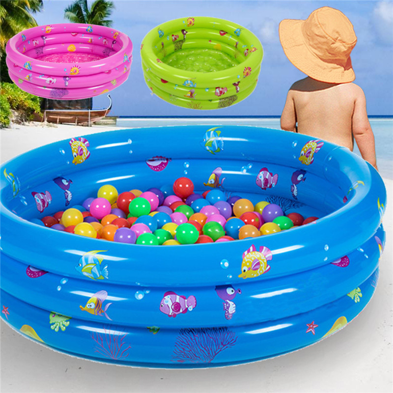 80x30cm Inflatable 3 Ring Round Swimming Pool Toddler