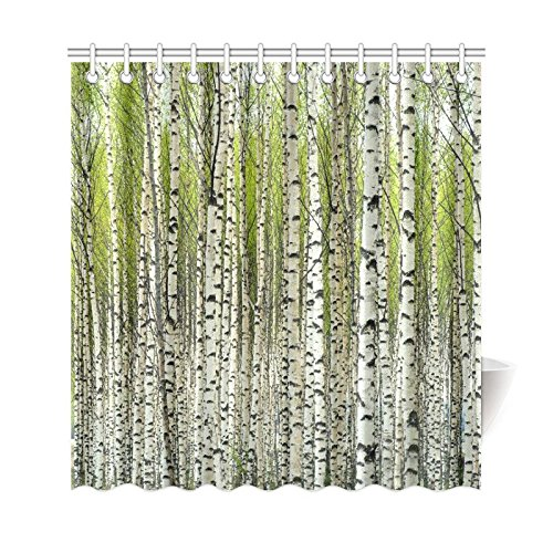 artjia home bath decor fabric green birch tree shower curtain hooks 66x72 inches bare birch trees with fresh green leaves in spring curtains