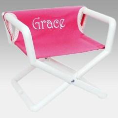 Folding Chair Embroidered Circular Sofa Hoohobbers Personalized Pink Canvas Kids Directors Walmart Com