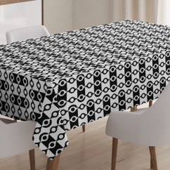 Modern Art Chair Covers And Linens High Clearance Abstract Tablecloth Monochrome Stripes Oval Shapes Geometric Illustration Minimalist Rectangular Table Cover For Dining Room Kitchen