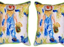 Pair of Betsy Drake Garden Girl Large Indoor/Outdoor ...