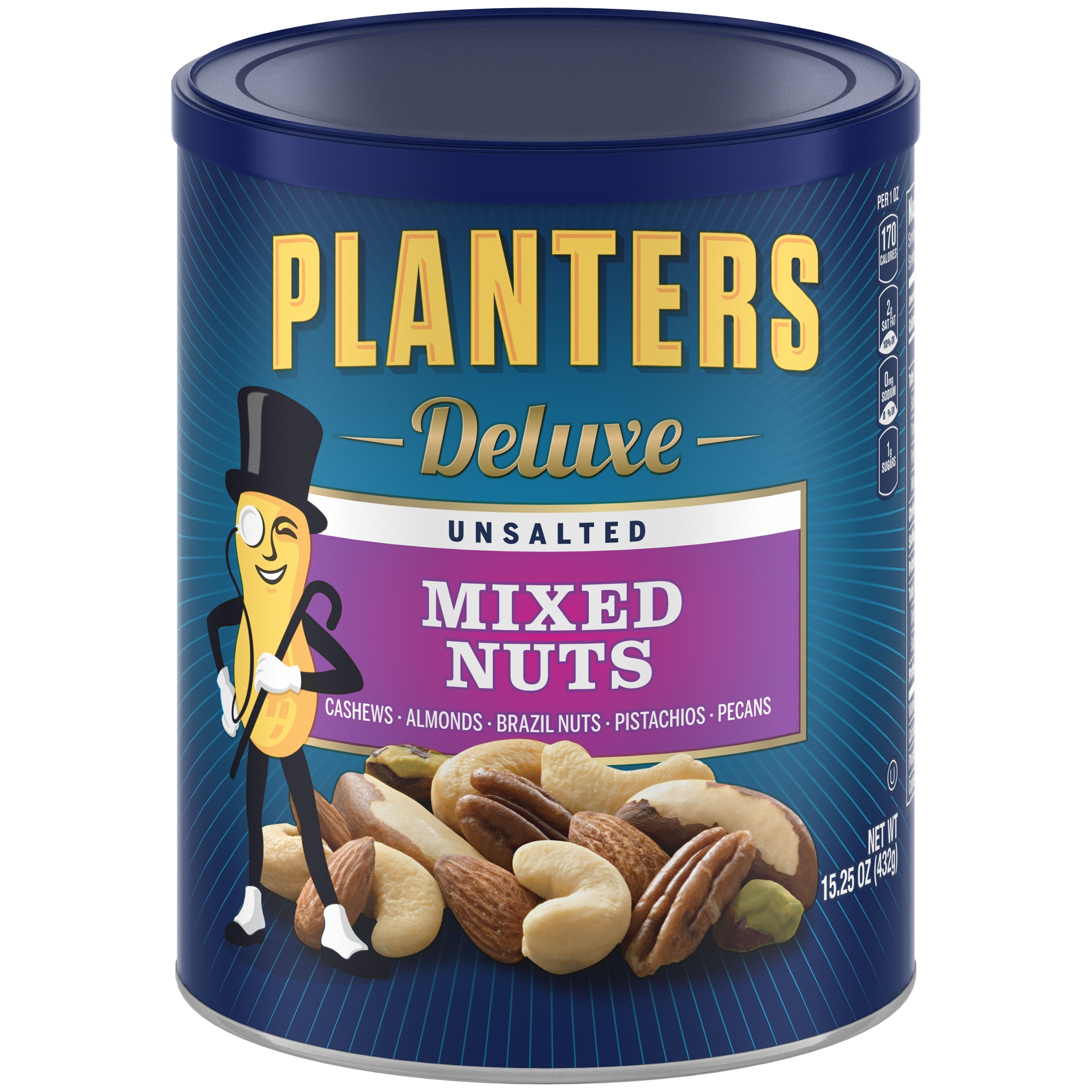 PLANTERS SNACK NUTS DELUXE MIXED NUTS UNSALTED Walmartcom