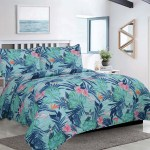 Full Queen Tropical Monstera Palm Leaf Oversized 3 Piece Comforter Bedding Set With Pillow Shams Teal Pink Green Walmart Com Walmart Com