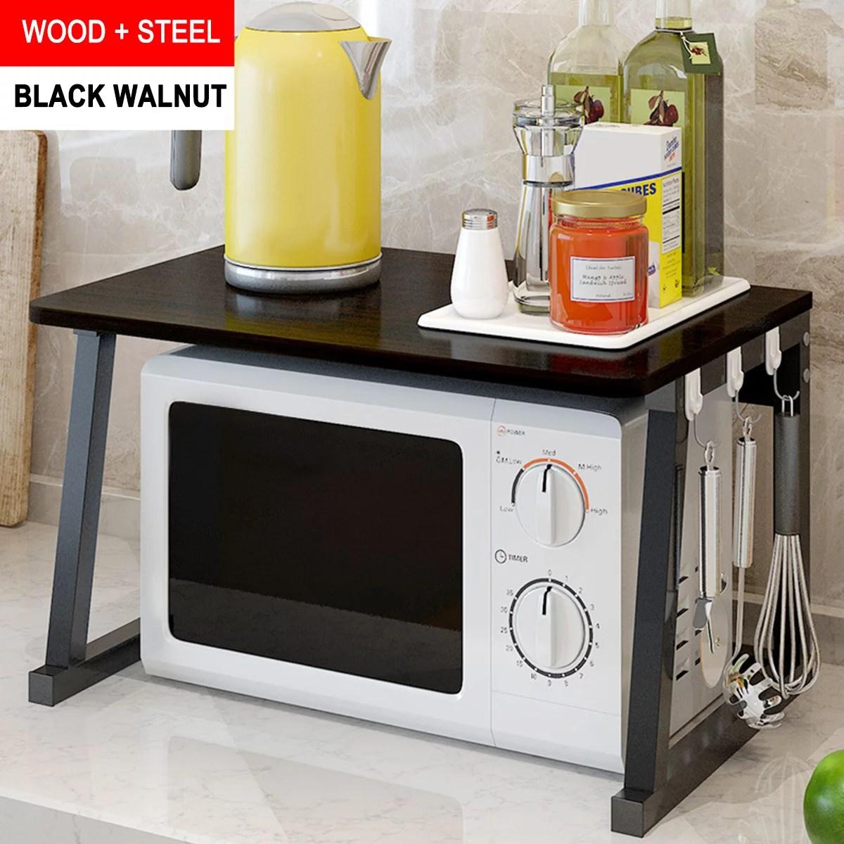 us kitchen shelf microwave oven rack stand wooden condiment storage cabinet