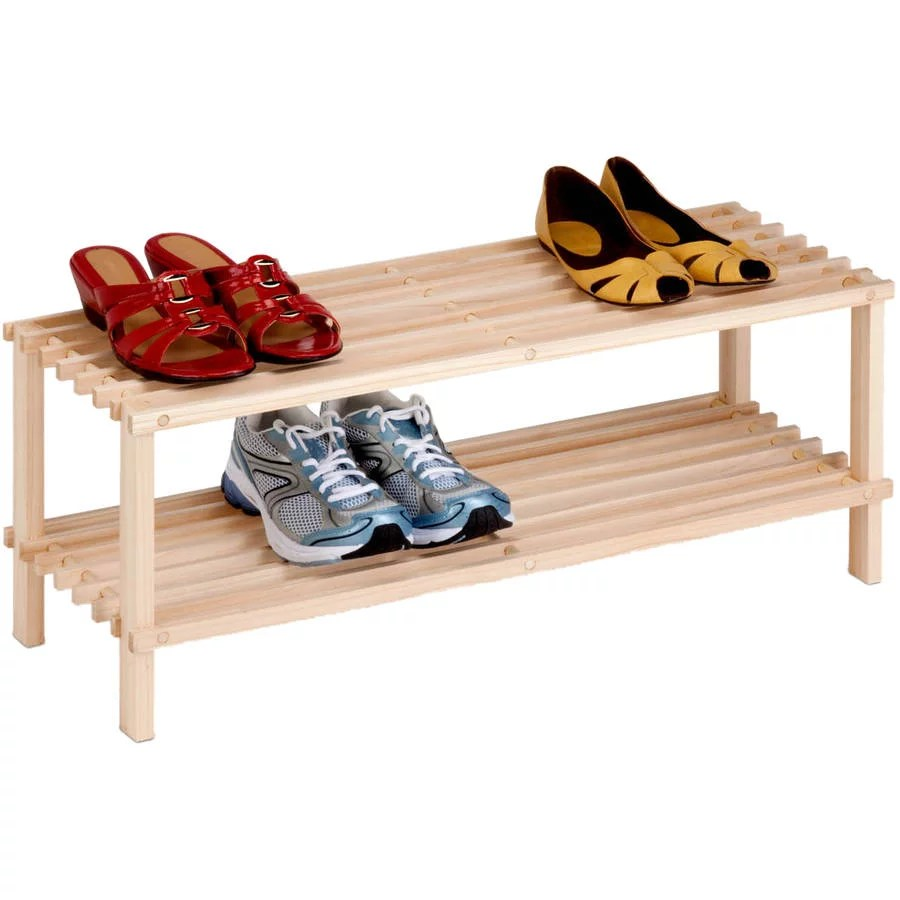 honey can do 2 tier unfinished natural wood shoe rack