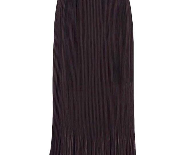 Long Pleated Chiffon Maxi Skirt With Belt