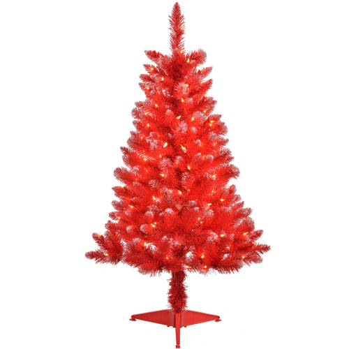 4 Pre Lit Blue Tinsel Artificial Christmas Tree Clear