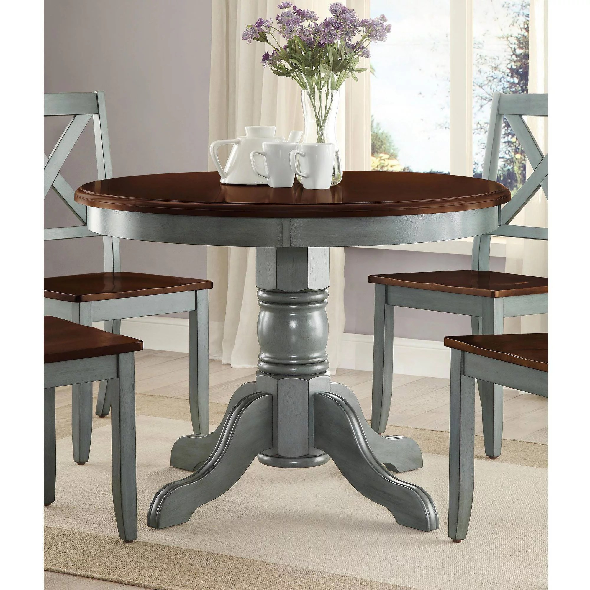 round kitchen table and chairs set leather reclining with footstool mainstays 5 piece glass metal dining 42 tabletop walmart com
