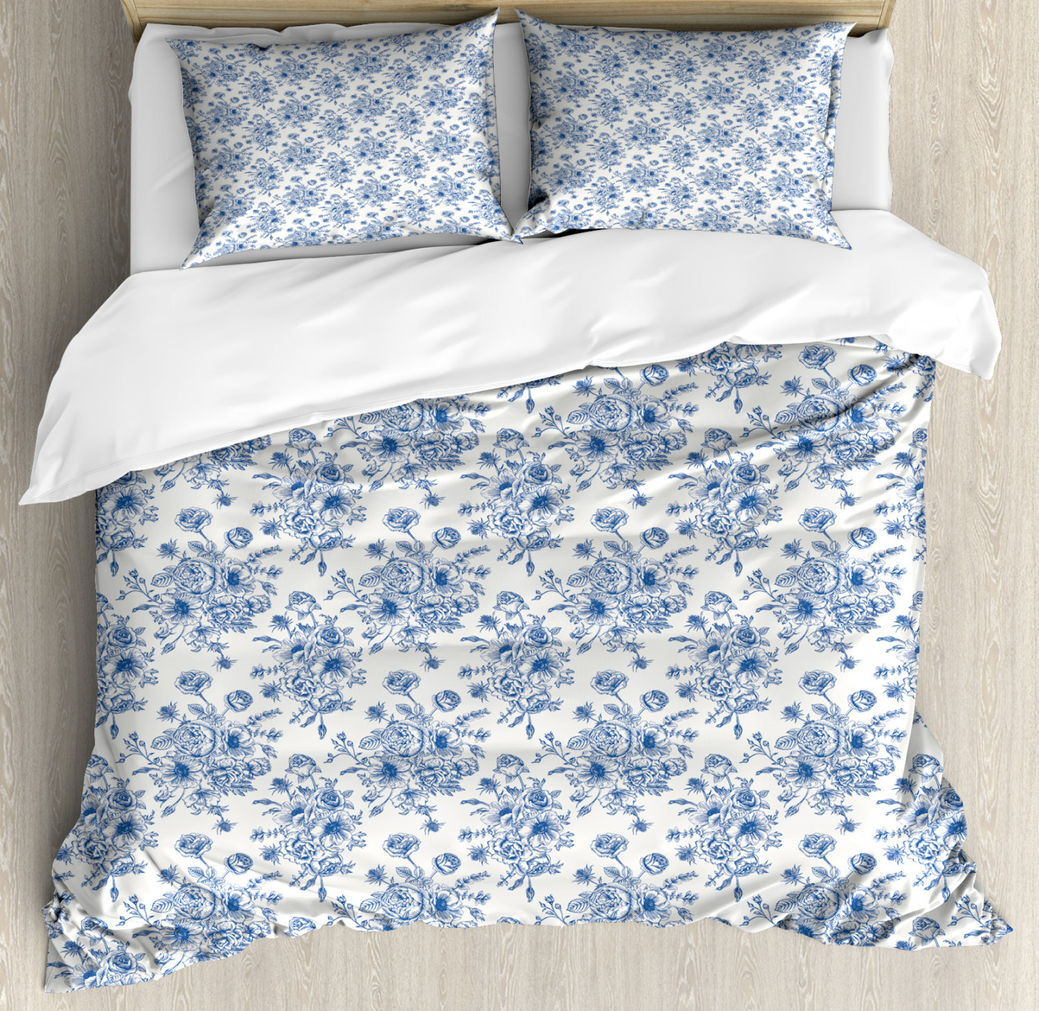 blue and white king size duvet cover set sketchy roses anemones and eustoma in blue shades romantic vintage bouquet decorative 3 piece bedding set