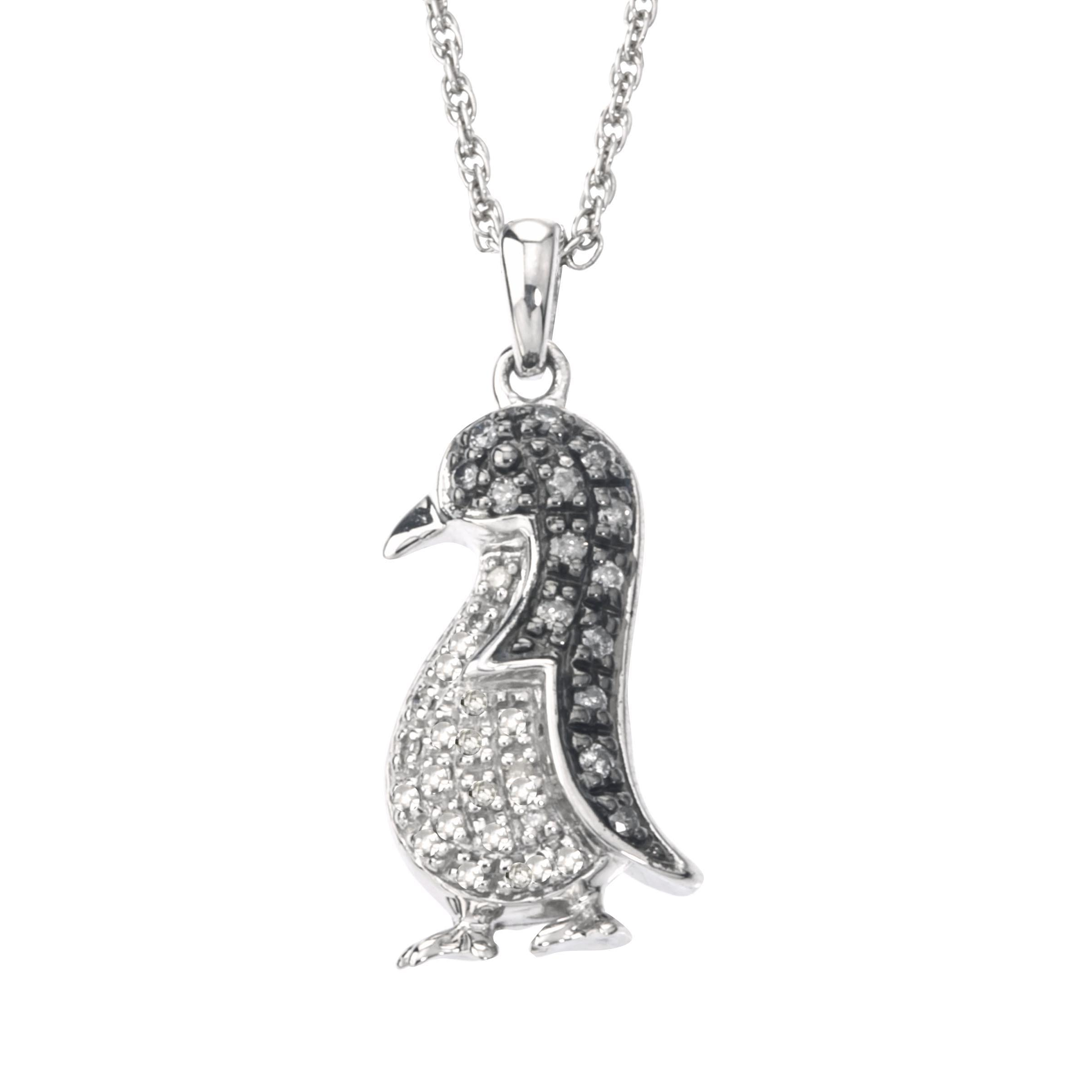 Diamond Penguin Necklace in Sterling Silver (0.25 cts, H-I