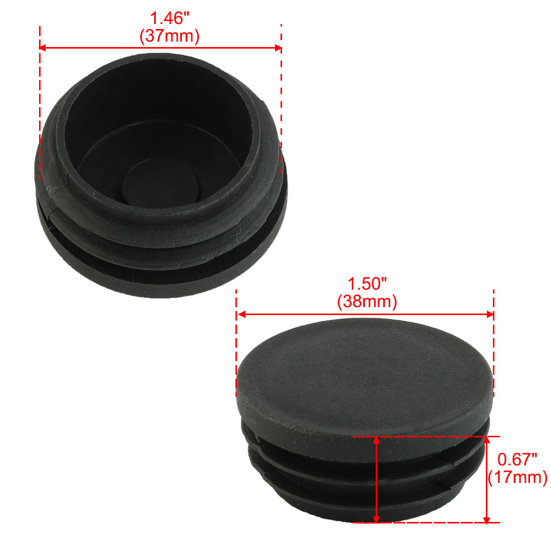 Chair Foot Caps Plastic Round Flat Type Table Chair Leg Caps Tube Insert Black 38mm Dia 20pcs
