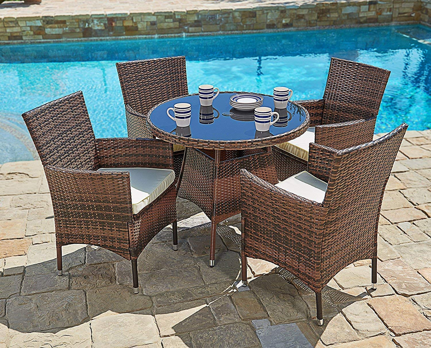 suncrown 5 piece outdoor patio dining set wicker round dining table and chairs with washable cushions tempered glass tabletop