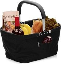 RSVP Black Polyester Collapsible Market Basket with Pocket ...
