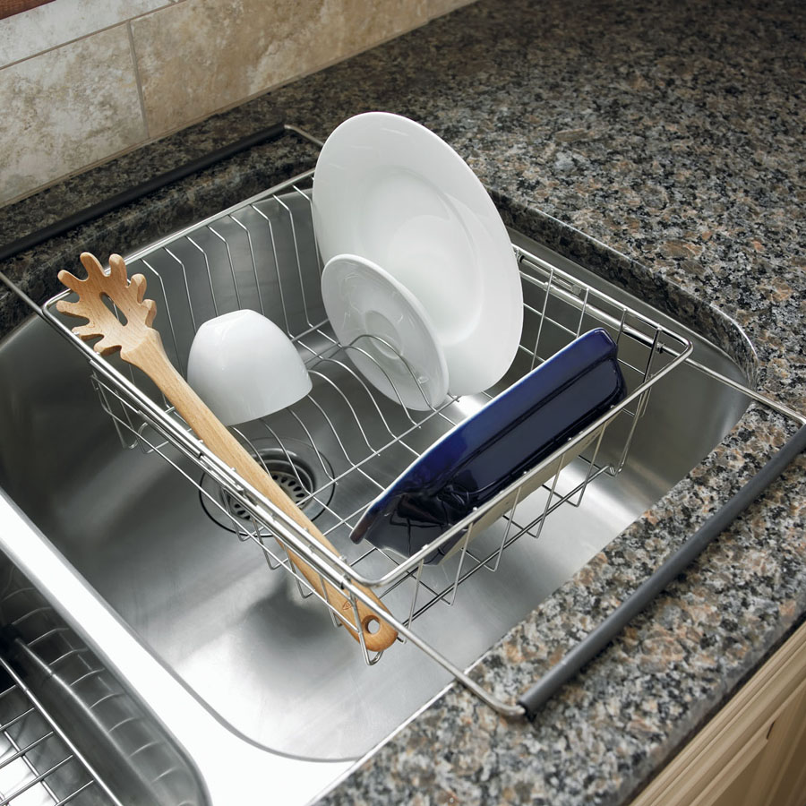 kitchen sink rack discount supplies polder expandable in dish