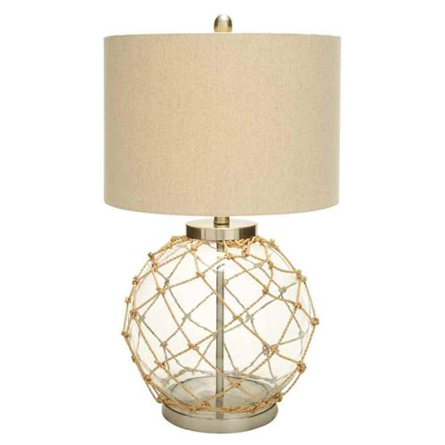 Nautical Glass Table Lamp Knot Beige Net Home Accent Dcor