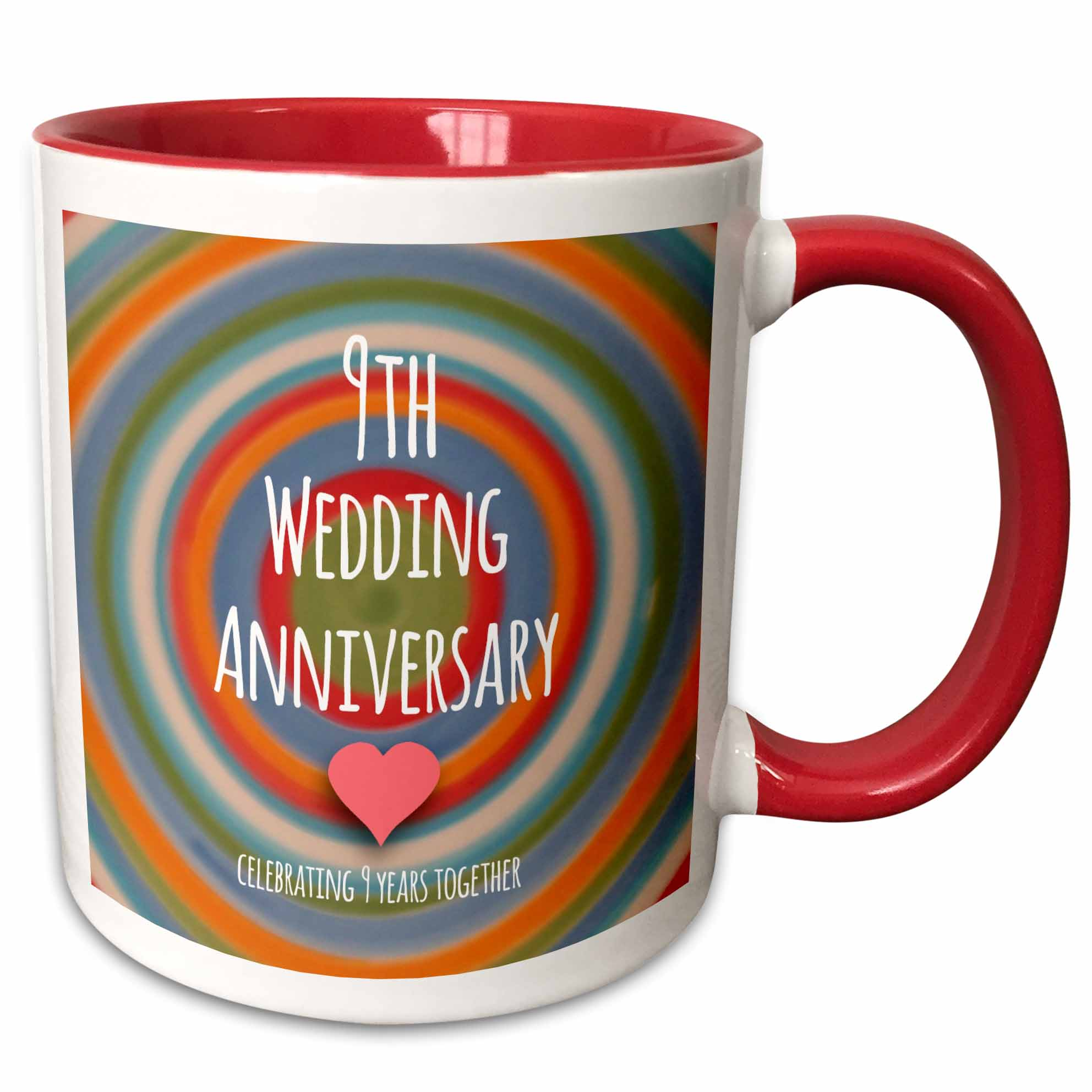 3dRose 9th Wedding Anniversary gift  Pottery celebrating 9 years together ninth anniversaries