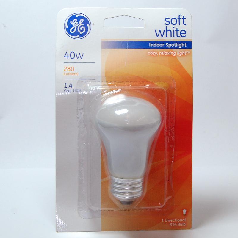 GE 40W 120V R16 E26 Base Soft White Incandescent Spotlight