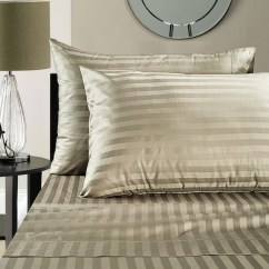 Sofa Sheets Bean Bag Olx Queen Sleeper Sheet Set 62 X 74 6 Deep Stripe Taupe 1800 Series Brushed Microfiber By The Great American Store Walmart Com