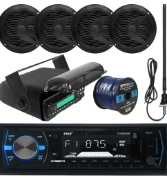 pyle plmrb29b mp3 usb sd bluetooth in dash radio receiver bundle combo with black marine stereo housing 4x 6 1 2 dual cone waterproof audio speakers  [ 1600 x 1600 Pixel ]