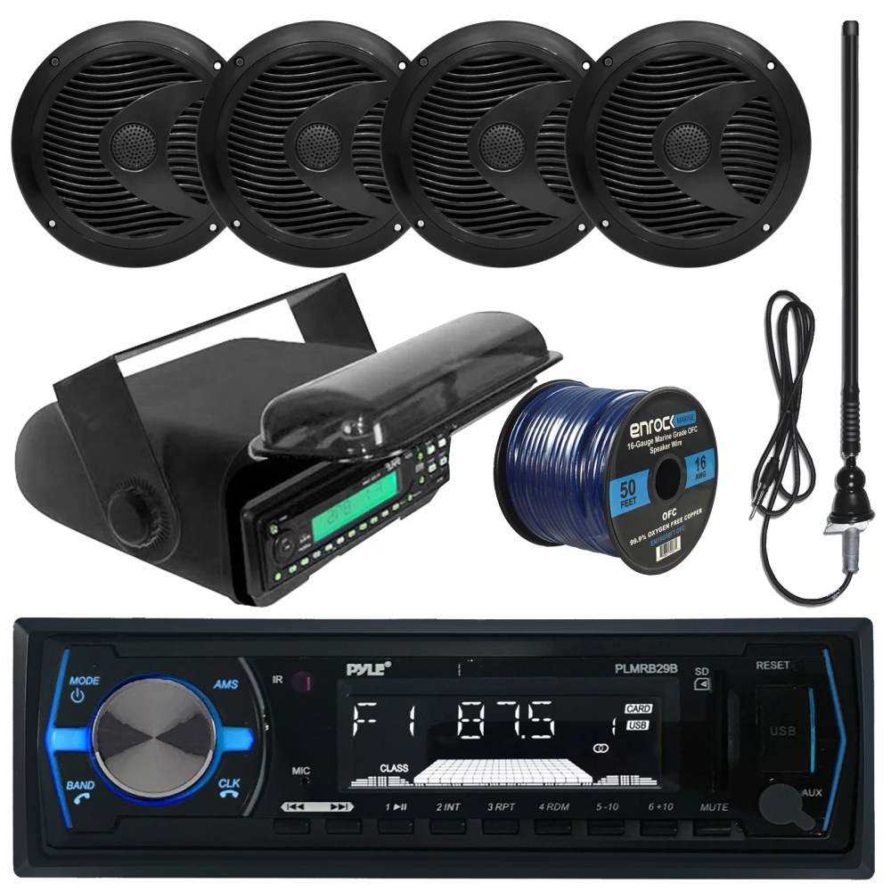 medium resolution of pyle plmrb29b mp3 usb sd bluetooth in dash radio receiver bundle combo with black marine stereo housing 4x 6 1 2 dual cone waterproof audio speakers