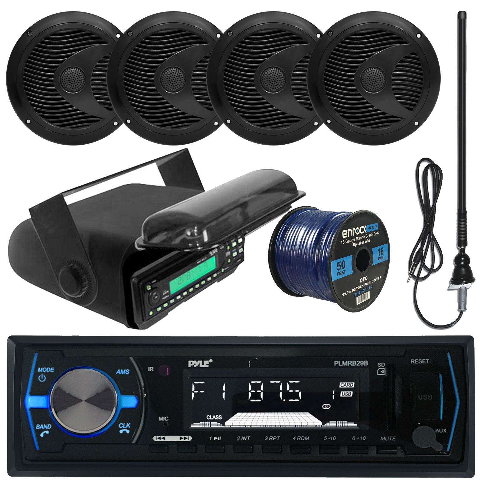 hight resolution of pyle plmrb29b mp3 usb sd bluetooth in dash radio receiver bundle combo with black marine stereo housing 4x 6 1 2 dual cone waterproof audio speakers