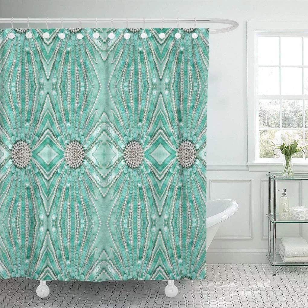 cynlon silver home seafoam green bling pattern fashions flowers angel bathroom decor bath shower curtain 66x72 inch