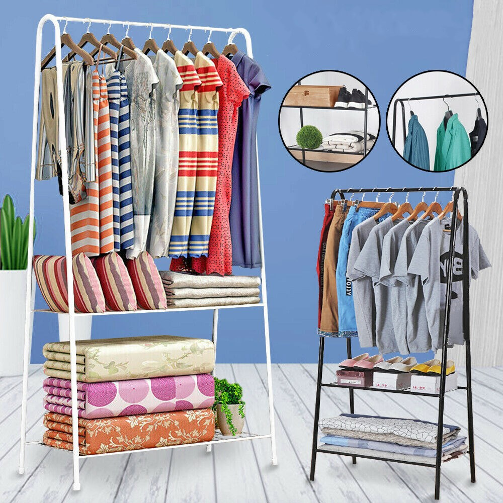 2 tier clothing rack metal garment rack home storage rack hanging clothing bar modern stainless steel open wardrobe white black walmart com