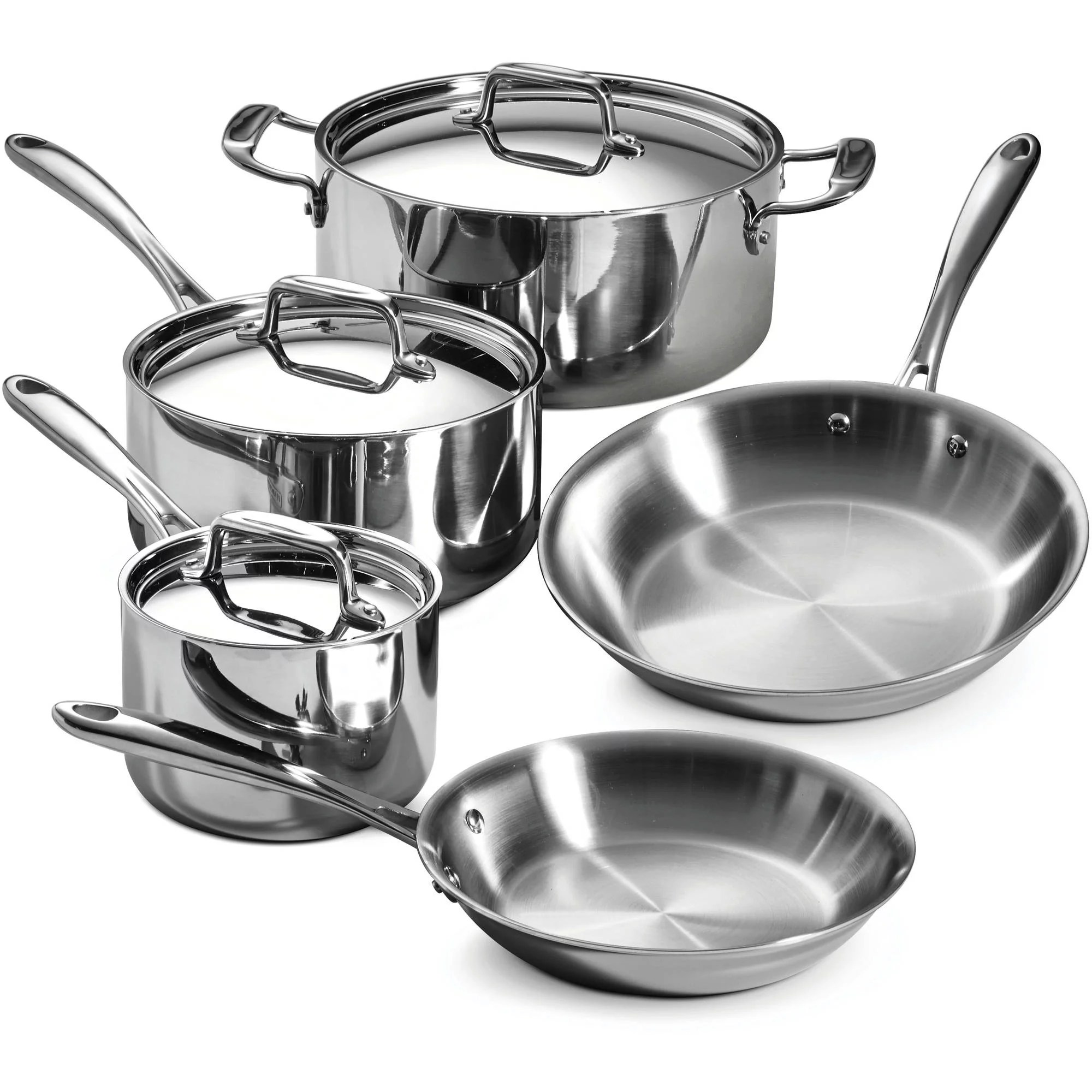 kitchen pots and pans garbage can tramontina 8 piece 18 10 stainless steel tri ply clad cookware set walmart com