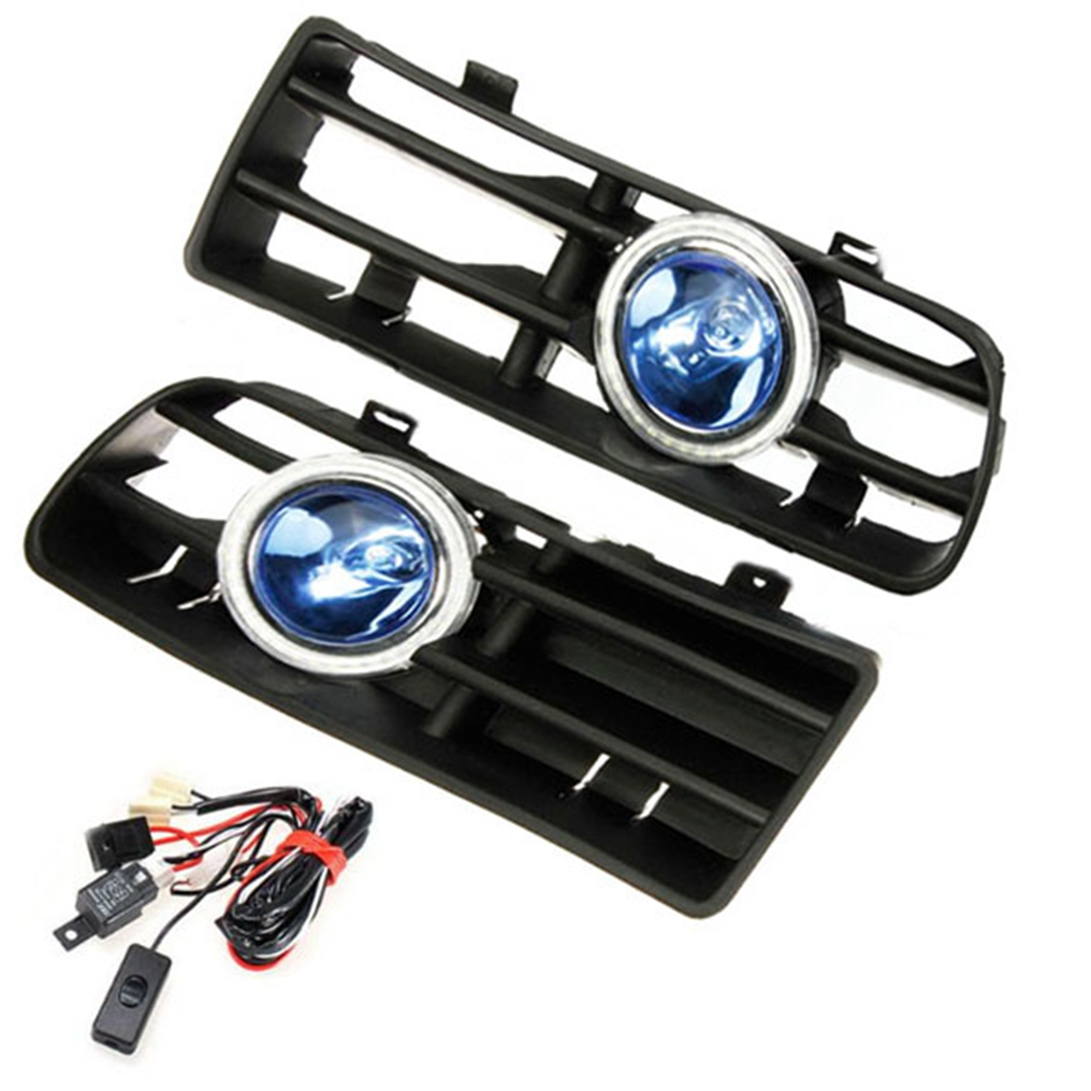 hight resolution of 12v led bumper grille fog light daytime running lamp driving running drl foglight turn signal indicator white angel eye wiring harness on off switch for