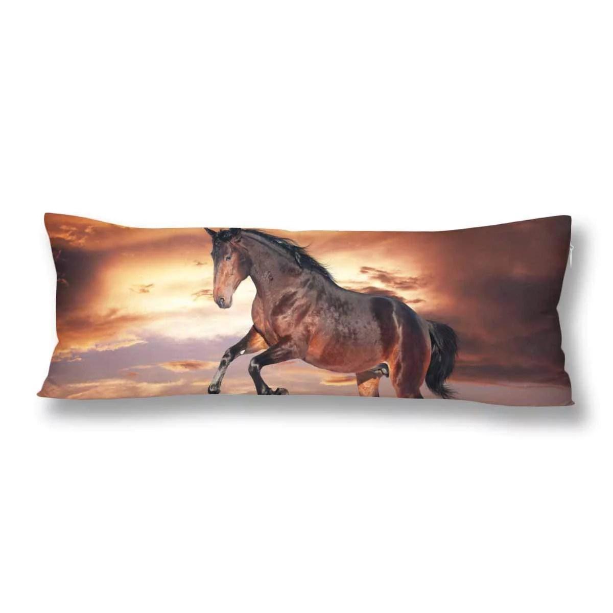 abphoto brown horse running body pillow covers pillowcase 20x60 inch dark sky body pillow case protector walmart com
