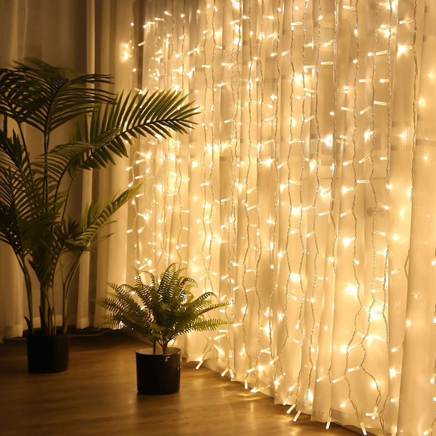 curtain lights brightown 600 led window curtain string lights with remote 8 lighting modes timer 20 ft hanging twinkle light for bedroom wedding