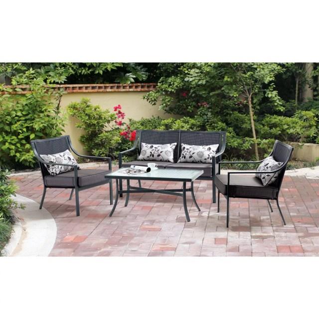 mainstays alexandra square 4-piece patio conversation set, grey with