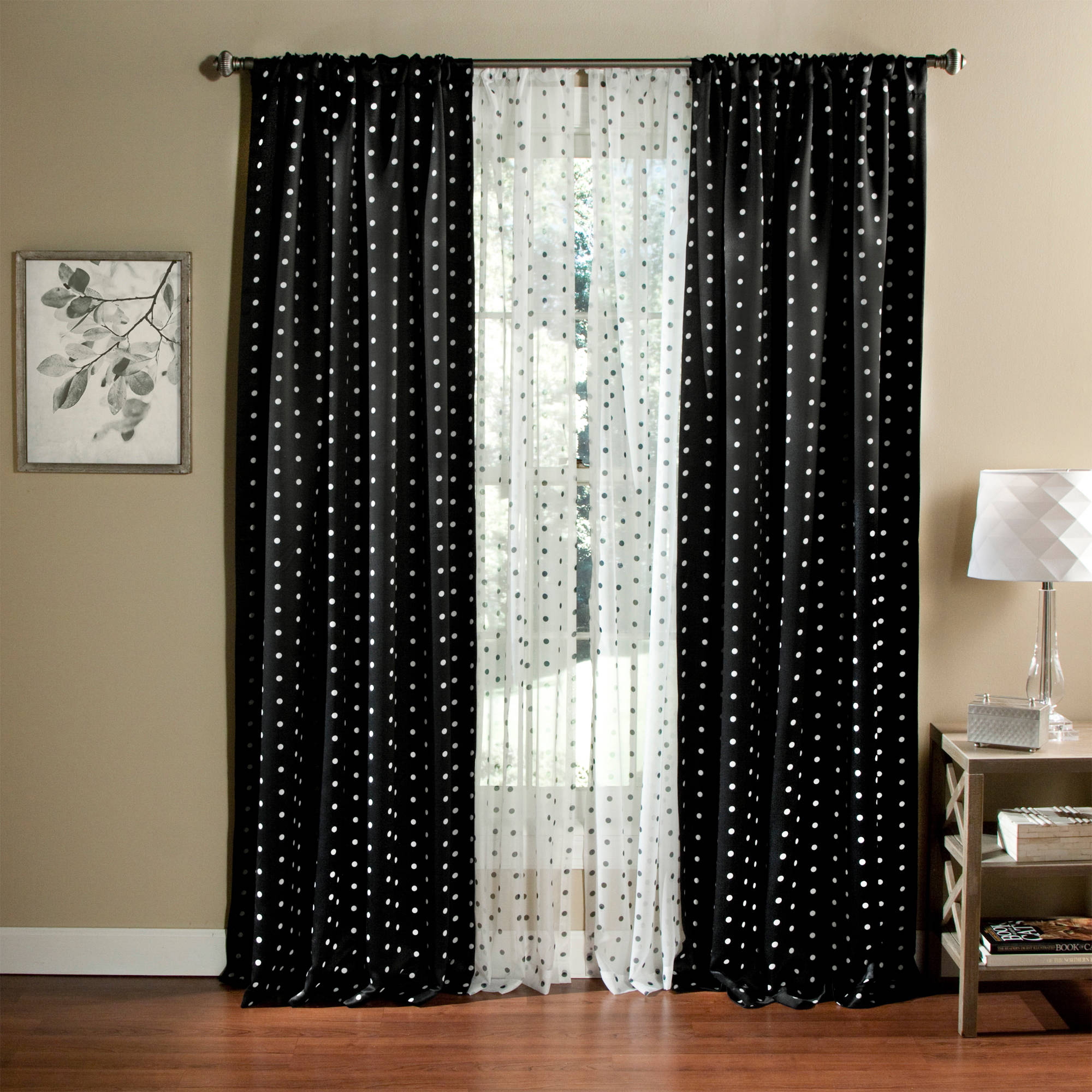Polka Dots Blackout Curtain Panel Set Of 2 Walmart Com