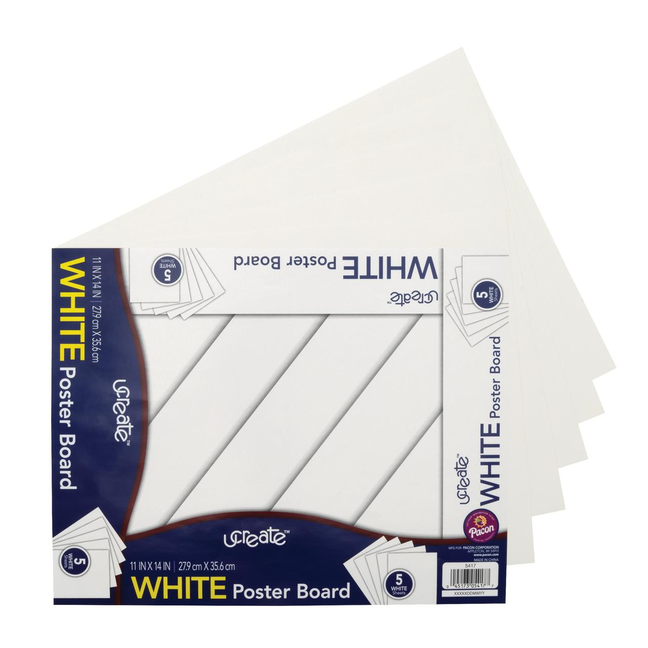 pacon poster board 5 sheet pack 11 x 15 white