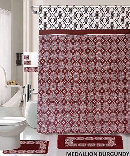 18 piece bath rug set burgundy holiday red medallion print bathroom rugs shower curtain rings and towels sets medallion burgundy