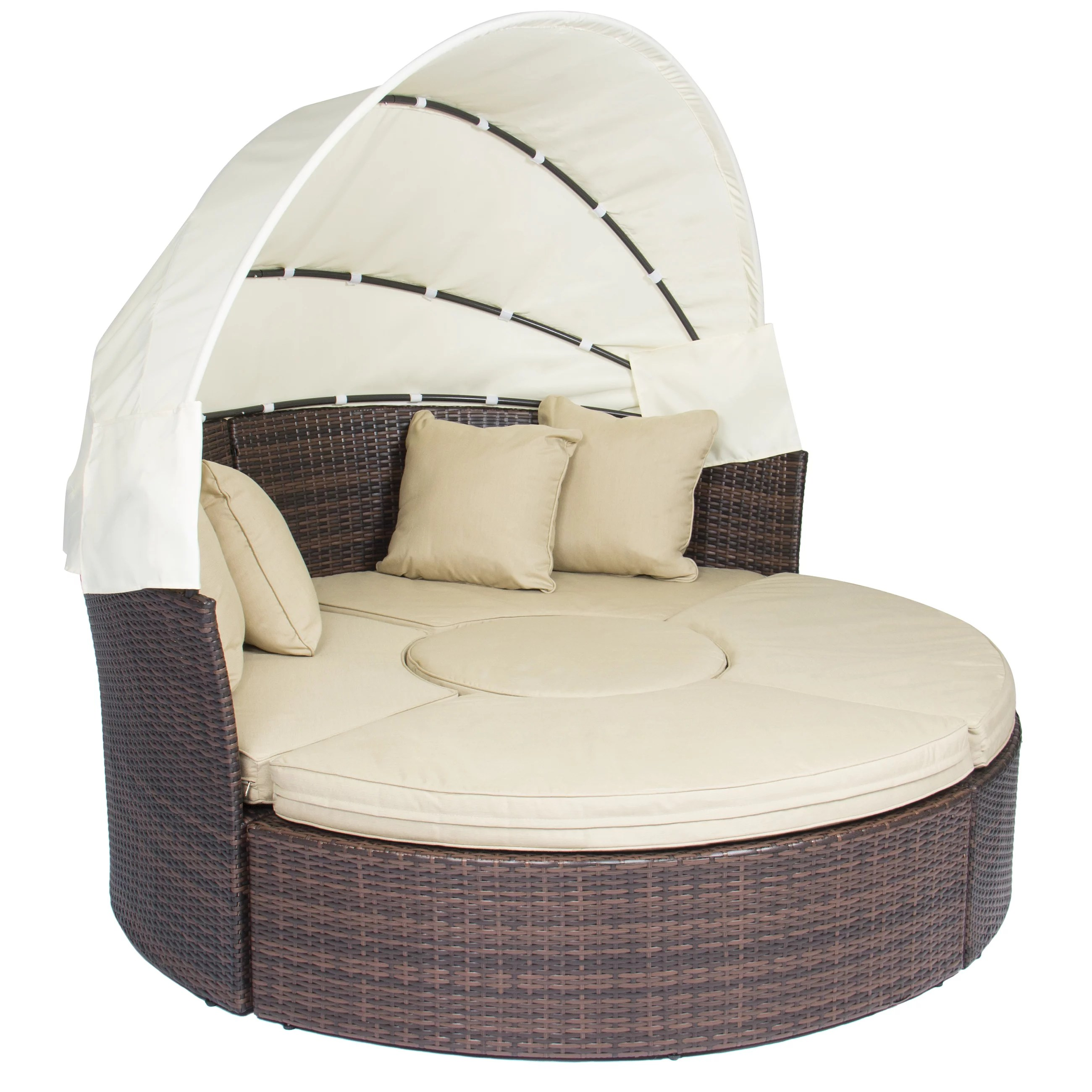 canopy daybed outdoor wicker sun sofa lounge bed for baby best choice products patio furniture round retractable brown rattan walmart com