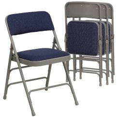 Folding Fabric Chairs High Chair Cushions For Wooden Hercules Hinged Padded 4 Pack Navy Blue Walmart Com