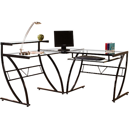 Coaster Black Mobile Computer Desk with Tempered Glass