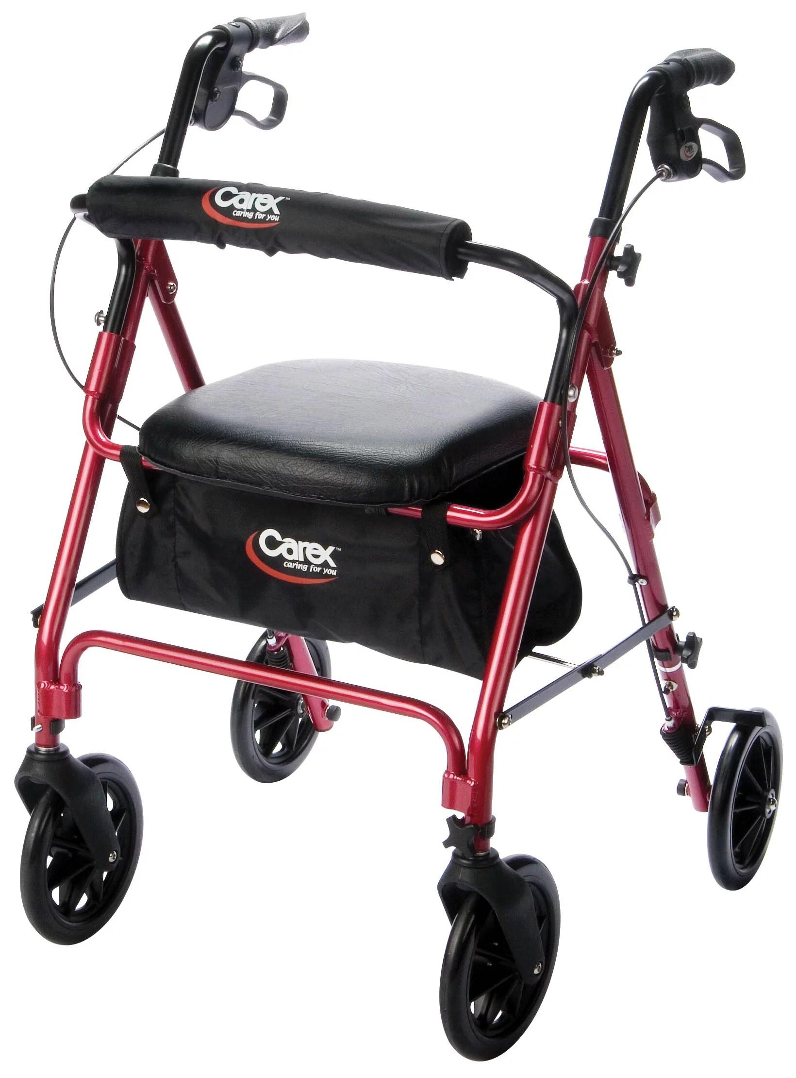 walker roller chair turquoise bean bag carex aluminum rolling rollator with 8 wheel burgundy walmart com