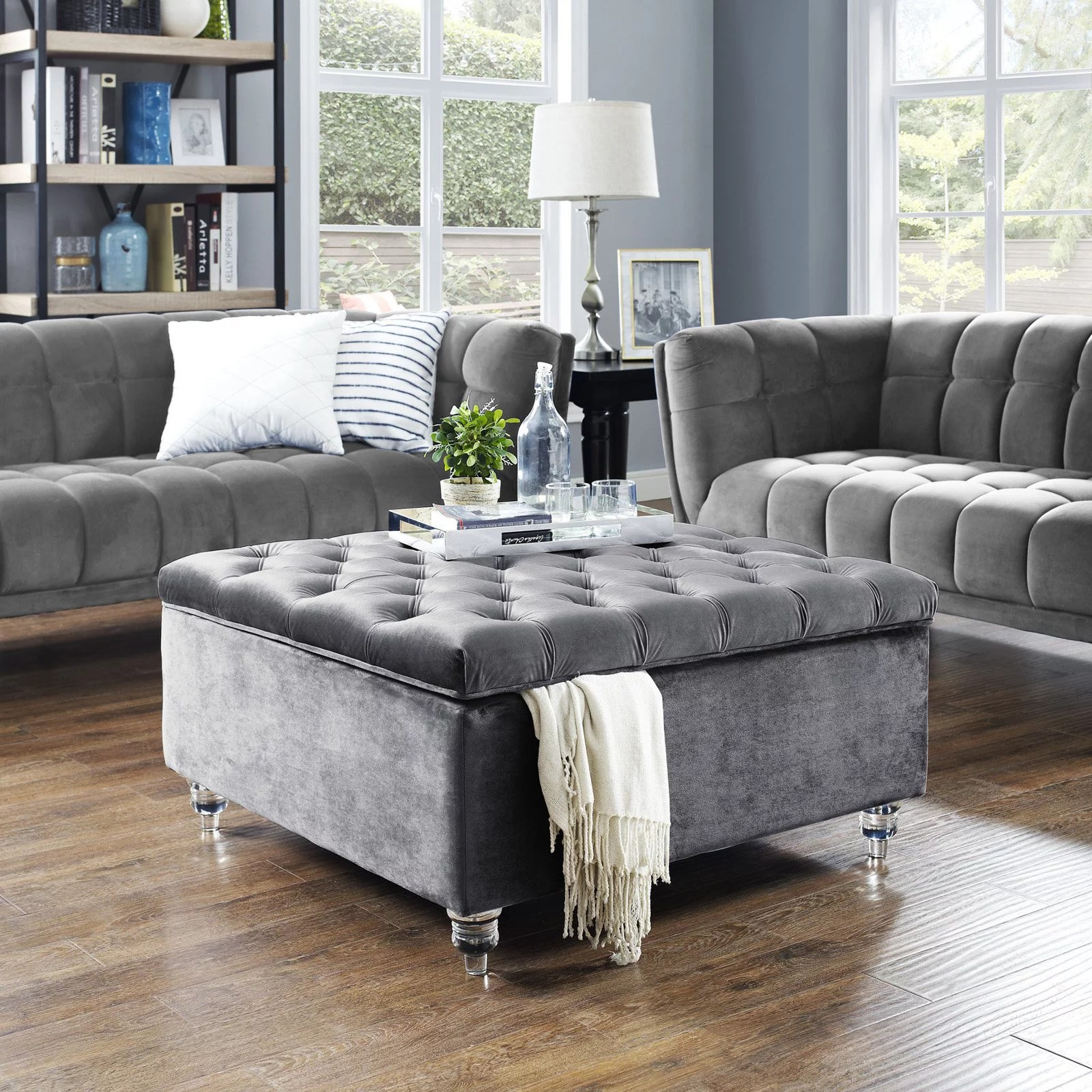 inspired home clarissa velvet storage ottoman cocktail coffee table square tufted grey